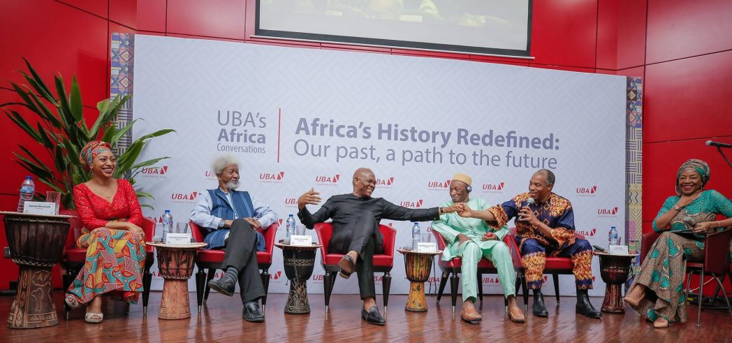 L-R: Chairman of Ghana's Convention People's Party, and daughter of Mr. Kwame Nkrumah, Ms Samia Nkrumah; Nobel Laureate, Professor Wole Soyinka; Group Chairman, UBA Plc, Mr. Tony Elumelu; Guinean Historian and playwright, Professor, Djibril Tamsir Niane; Afro musician, Mr. Femi Kuti; and Legal Practitioner and Moderator, Ms. Ayo Obe, during the panel discussion themed 'Africa's History Redefined, our past, the path to the future,' organised by UBA to mark Africa's Day in Lagos