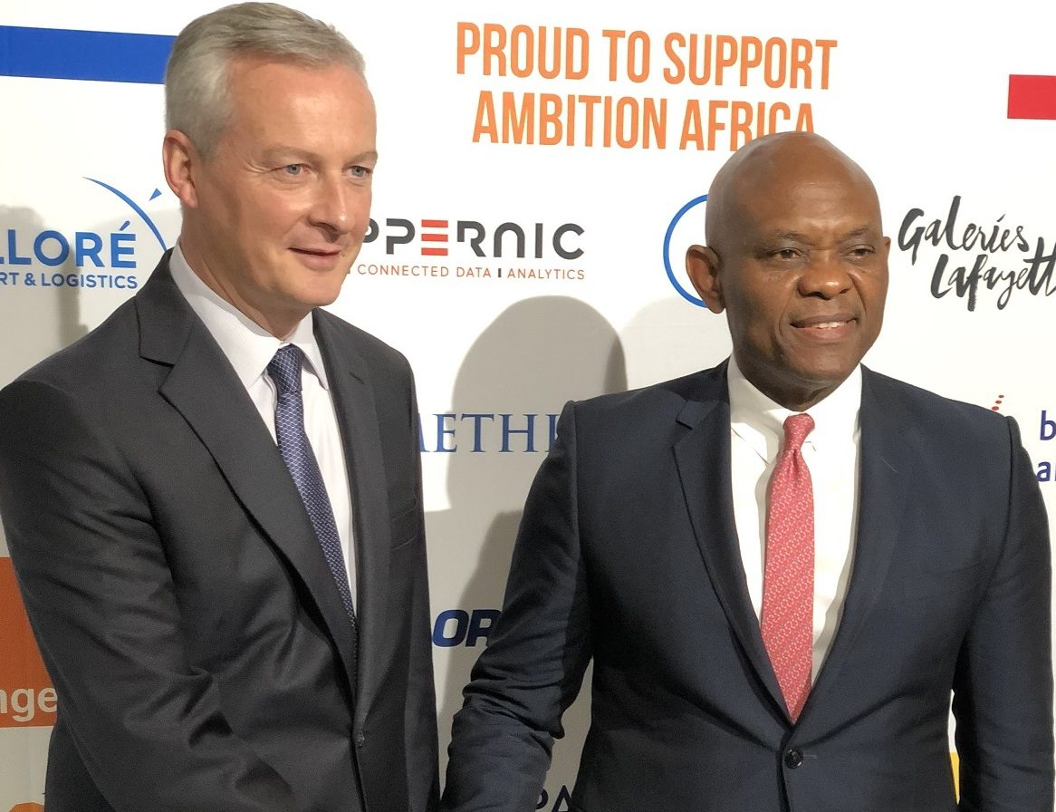 Tony O. Elumelu, CON, Founder, Tony Elumelu Foundation and Chairman, United Bank for Africa (UBA) with Bruno Le Maire, French Minister of Economy and Finance at the Invest for Growth in Africa Conference in France