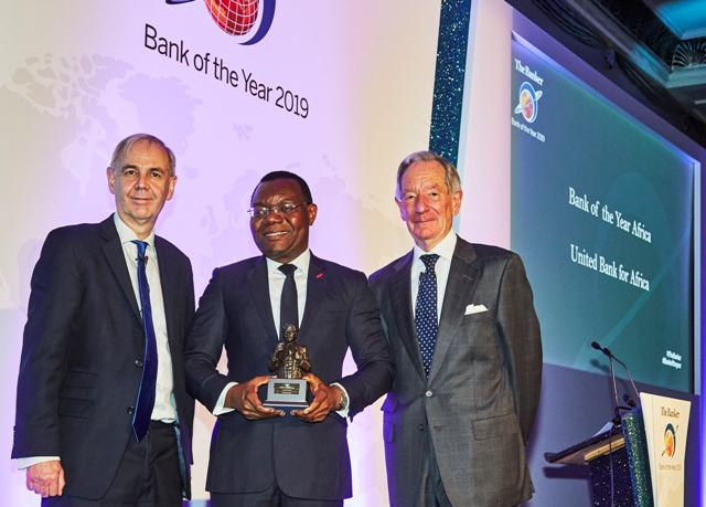 "CEO, UBA Africa, Mr Victor Osadolor(middle) with the ""African Bank of the Year 2019"" won by United Bank for Africa(UBA) Group at The Bankers Awards held in London"