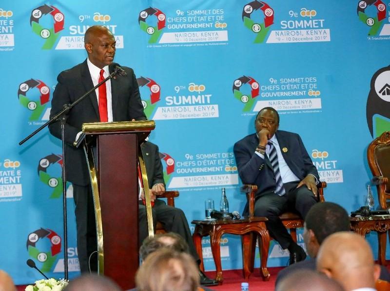 L – R: Tony O. Elumelu, CON, Founder of the Tony Elumelu Foundation and Chairman, Heirs Holdings and UBA Group; H.E. Uhuru Kenyatta, President of Kenya; at the 9th ACP Business Summit in Kenya on December 8, 2019 as Elumelu Presents the Keynote Speech